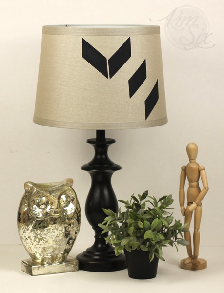 Modern painted stenciled lampshade