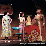Rita Russell, Eileen McCashion and Christine Boice Saplin in ON THE VERGE - January/February 2000.  Property of The Schenectady Civic Players Theater Archive.
