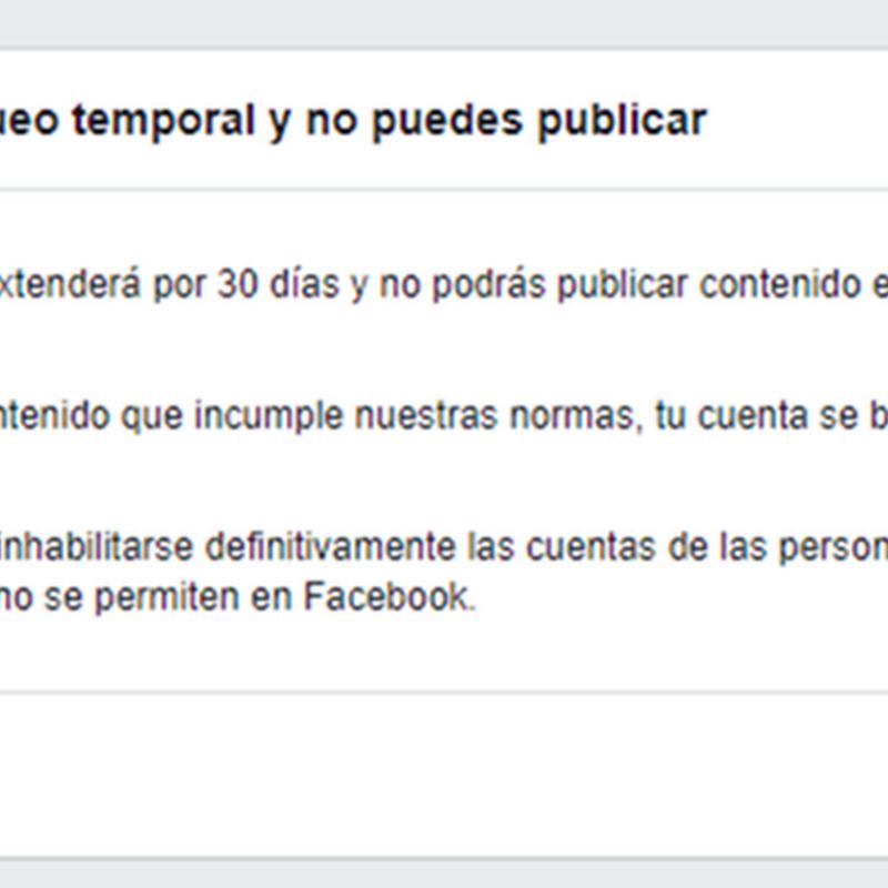 Bloqueo en facebook por 30 días