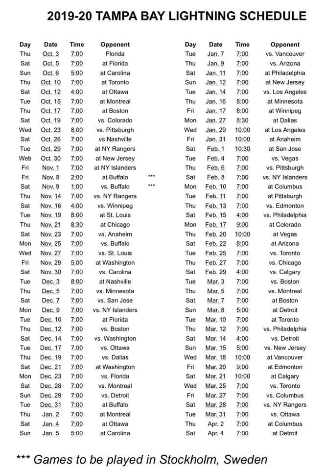 photograph relating to Tampa Bay Lightning Printable Schedule identify Tampa Bay Lightning 2019-2020 Plan : TampaBayLightning