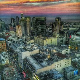 Through windows  by Rachel Levin - City,  Street & Park  Skylines ( building, sunset, san francisco )