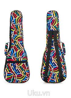 túi đựng đàn ukulele hoa văn cầu vồng