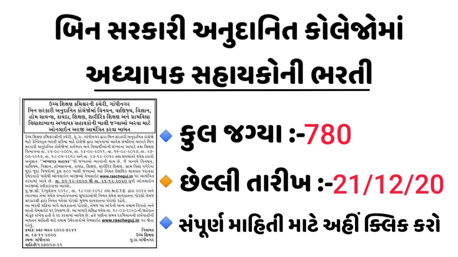 [www.rascheguj.in] Commissionerate of Higher Education, Gujarat Recruitment for Assistant Professor 2020