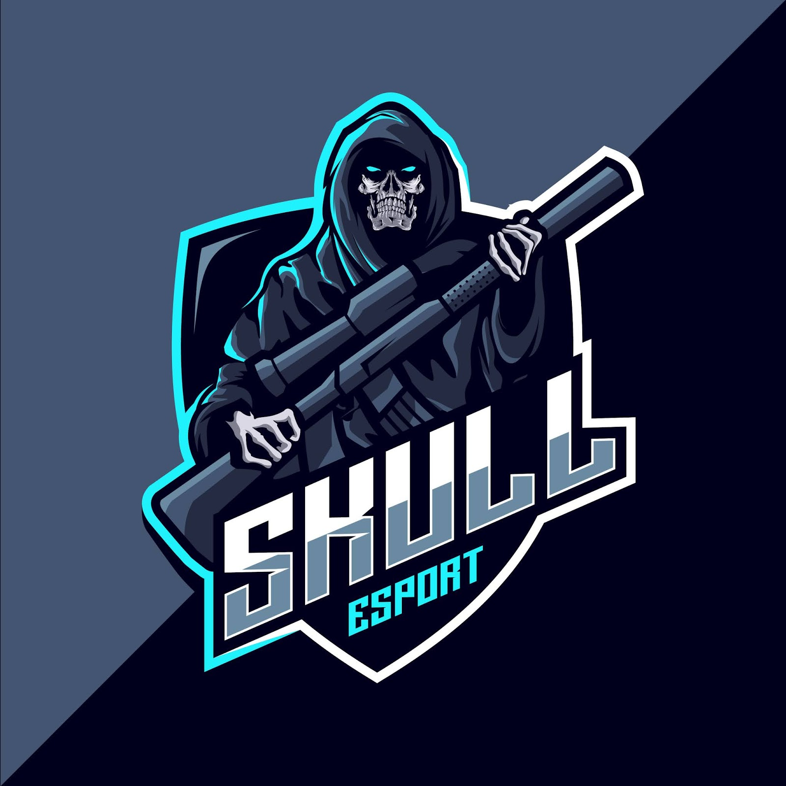 Reaper Skull With Guns Mascot Esport Logo Free Download Vector CDR, AI, EPS and PNG Formats