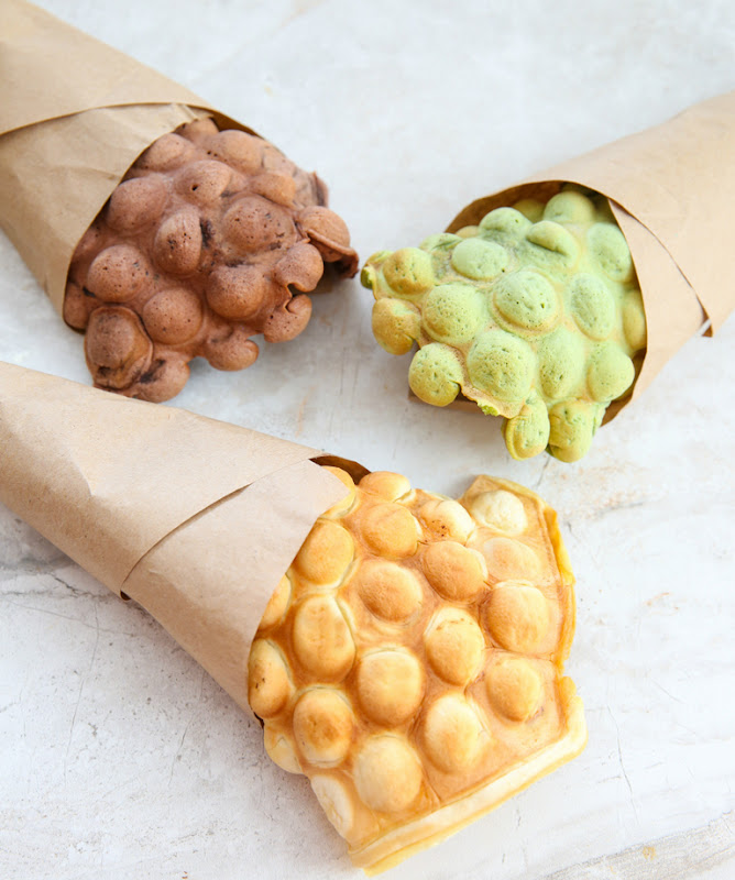 photo of three different Egg Waffle Cones