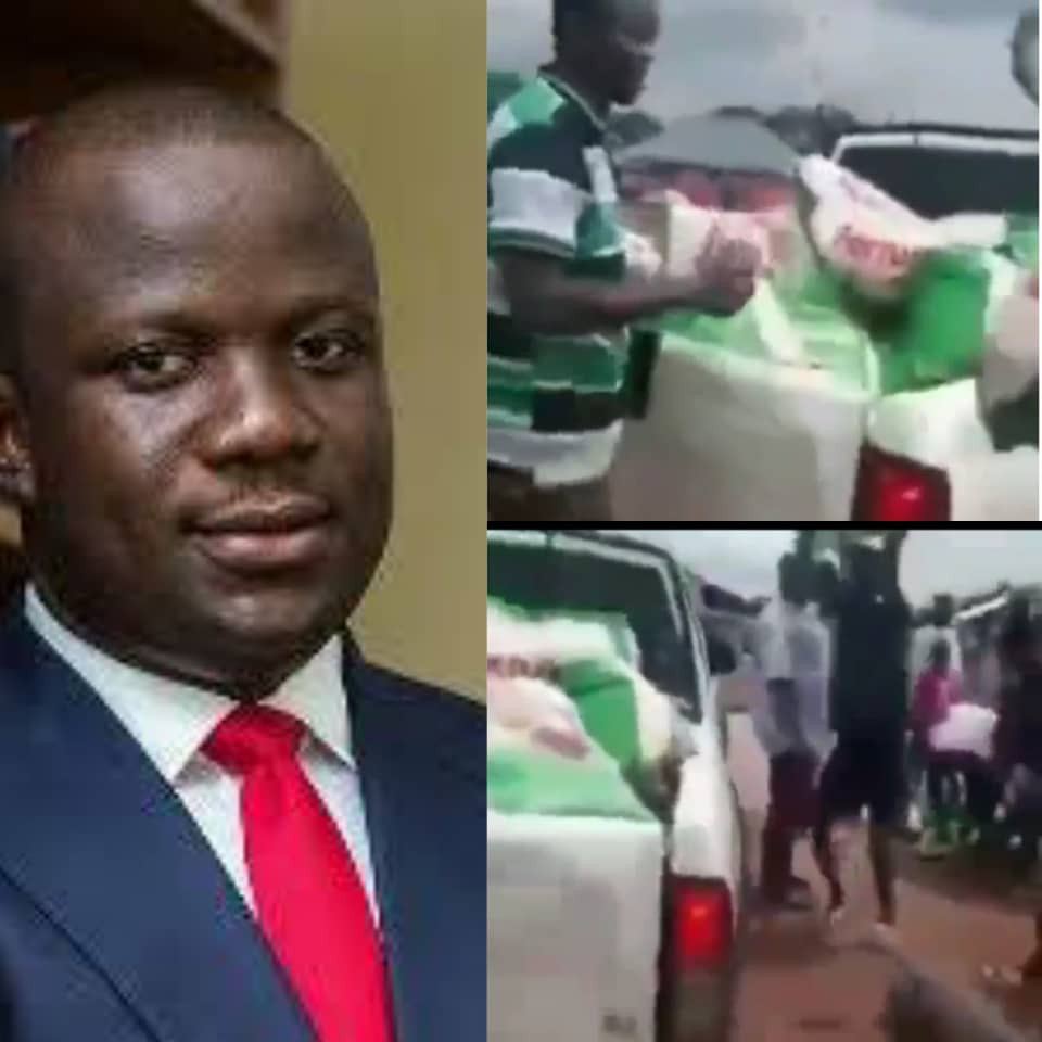 """''We need jobs""""- Ghanaian youths shout as they reject bags of rice sent to them by their lawmaker (video)"""