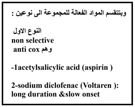 أسماء مضادات الالتهاب غير الستيروئيدية