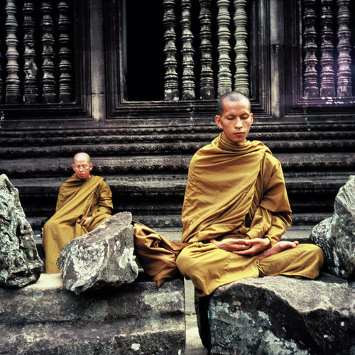 Monks Find Peace, Yoga And Meditation