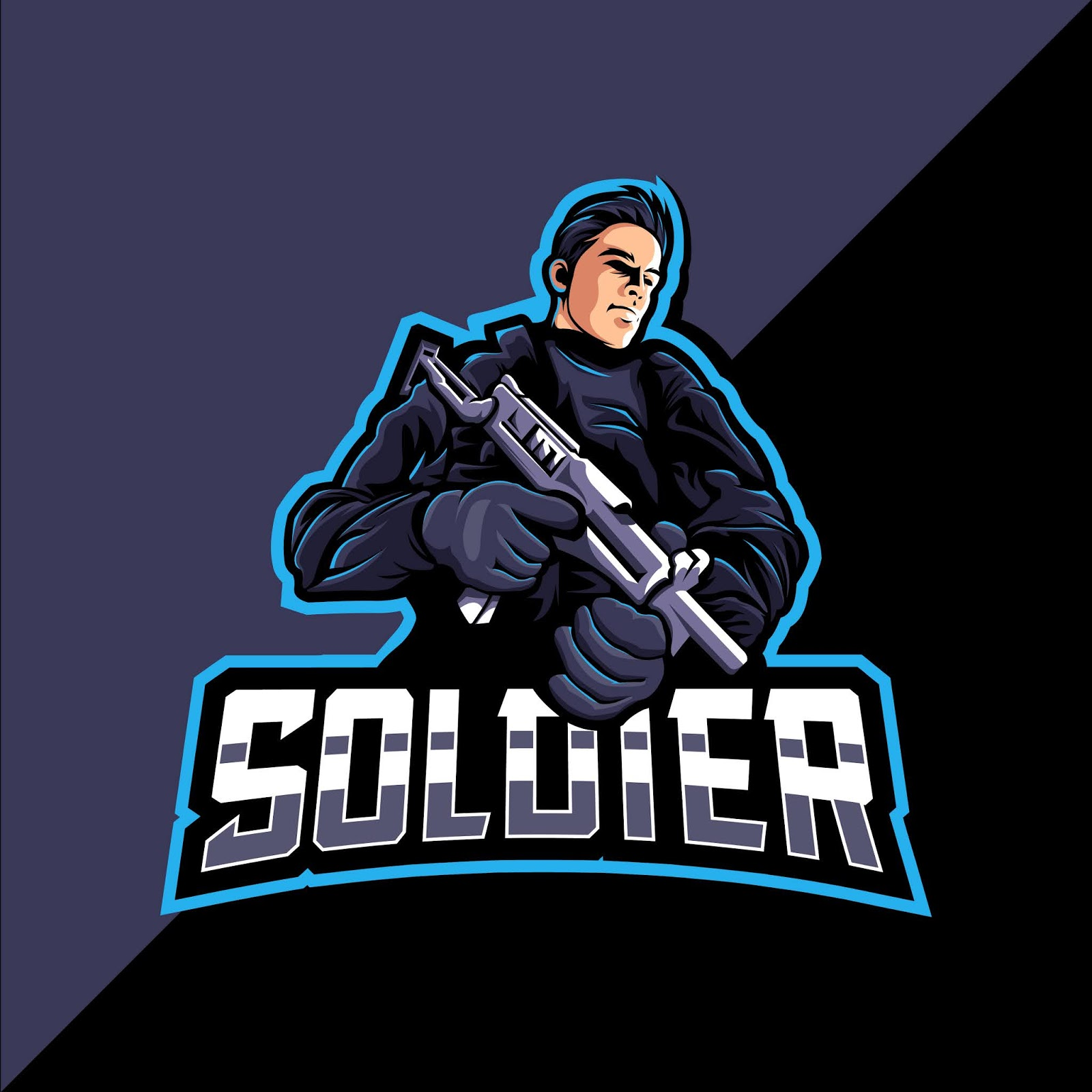 Soldier Mascot Esports Logo Gaming Free Download Vector CDR, AI, EPS and PNG Formats