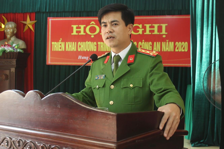 Đồng chí Đại tá Nguyễn Đức Hải, Phó Giám đốc Công an tỉnh phát biểu chỉ đạo tại Hội nghị