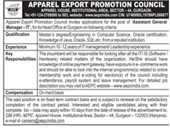 Apparel Export Promotion Council Jobs 2016