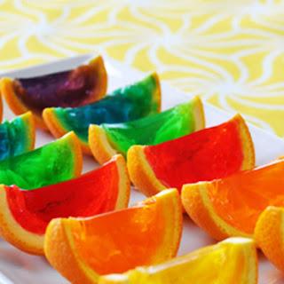 Rainbow Gelatin Orange Wedges.