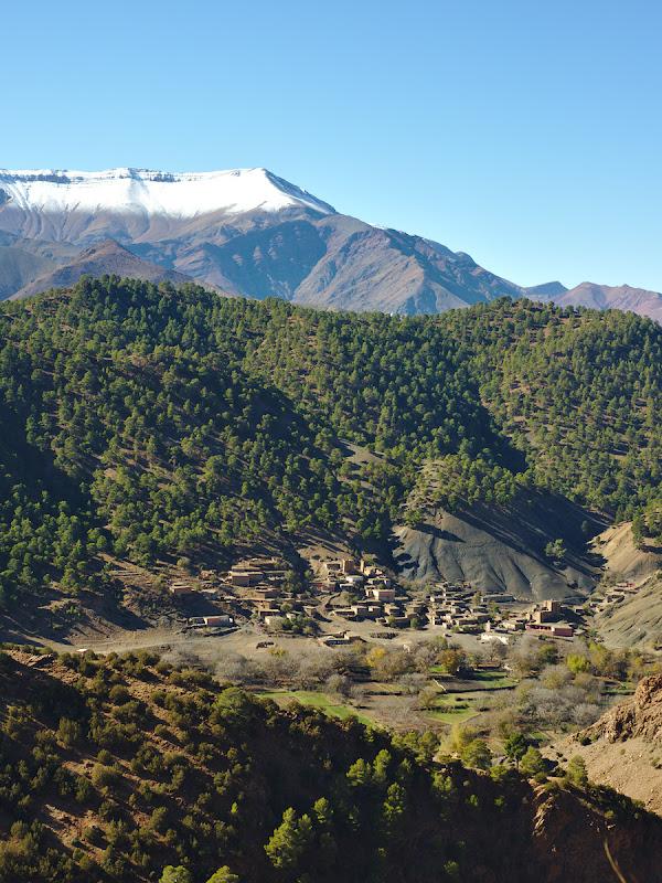 Satul tipic din Atlas, de data asta in varianta cu padure in jur si cu munti inzapeziti deasupra.