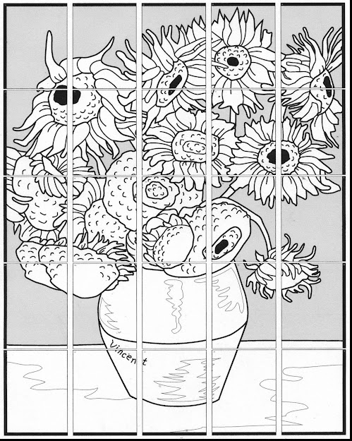 Excellent Vincent Van Gogh Sunflowers Coloring Page With Van Gogh Coloring  Pages And Van Gogh Coloring
