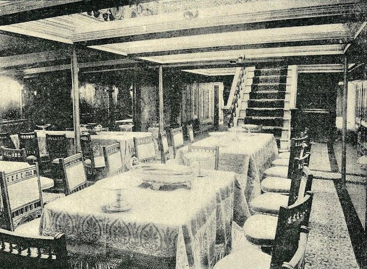 Comedor del vapor ISLA DE MINDANAO. Foto de la REVISTA DE NAVEGACION Y COMERCIO. Año 1898.jpg