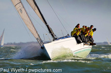 J/111 JDream sailing upwind on Solent- Hamble Winter Series