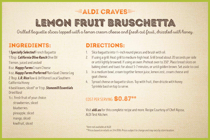 recipe photo for Lemon Fruit Bruschetta