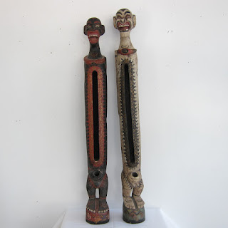 Balinese Hand-Carved Candlestick Pair