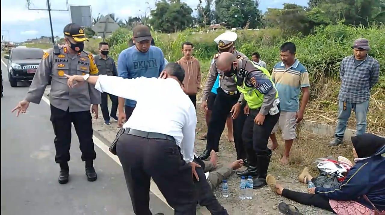 Kapolres Tapsel Cepat Tanggap, Bantu Korban Kecelakaan di Jalinsum Sipirok