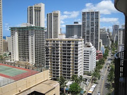 Honolulu skyline view from our hotel room.