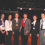Medal Winners: Girls... From left: Bronze: Ellen Brandell,  Silver: Maggie Chang, Gold:  Julie Okorn, Boys...fron right  Bronze:  Avery Hasenauer, Silver:  Danny Kornfeld, Gold:  Michael Gunawan