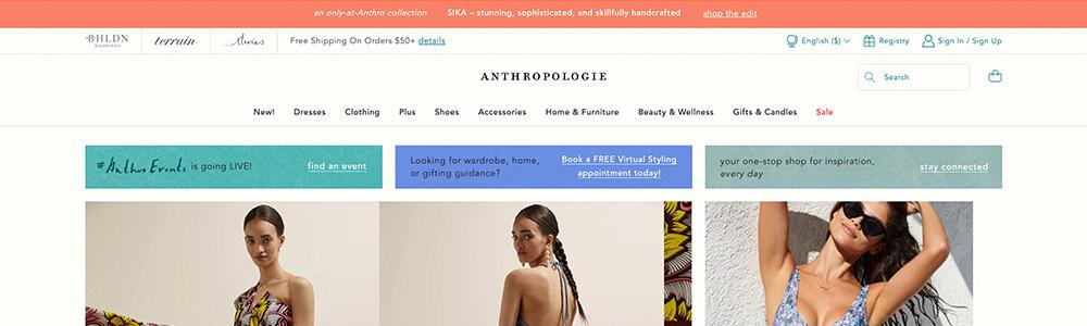 Anthropologie website announcement banner