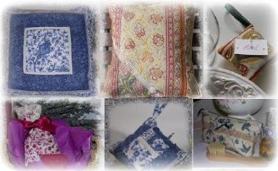 ...de la déco : housses de coussins, vides-poches romantiques, sachets de lavande...