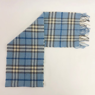 *SALE* Burberry Cashmere Blue Plaid Scarf