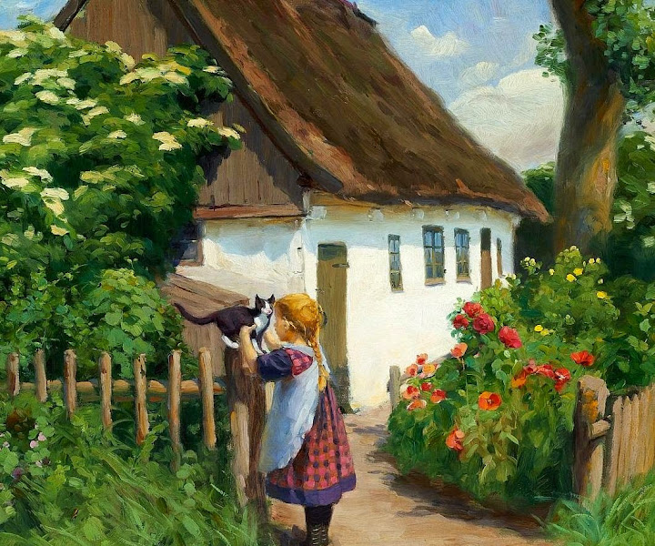 Hans Anderson Brendekilde - Summer day in the village with a little girl and a kitten
