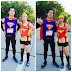 Superman and Wonderwoman on the Running Road