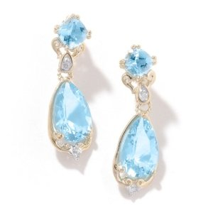 14K Yellow Gold Aquamarine & Diamond Earrings