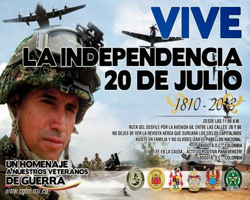 Online vivo directo Desfile militar 20 Julio Dia independeica Colombia