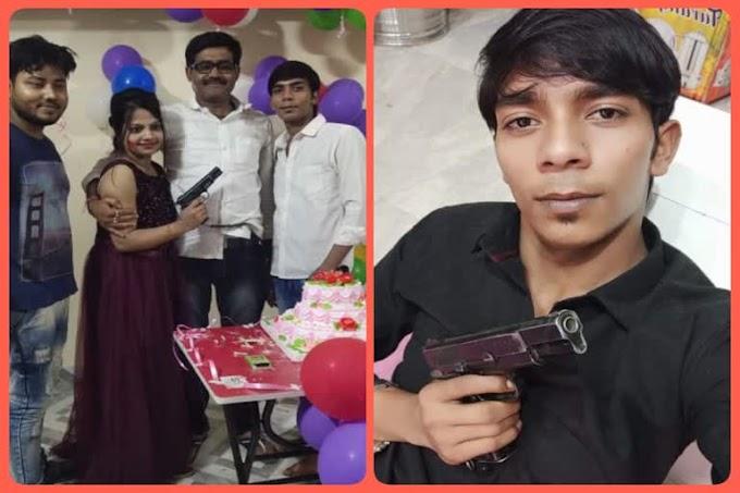 पूर्वी चम्पारण के ढाका के दारोगा की सरकारी पिस्तौल के साथ युवक और युवती की फोटो वायरल.