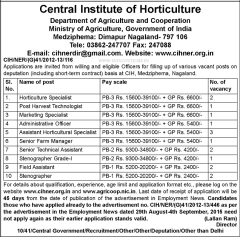 Central Institute of Horticulture Vacancy 2020 indialjobs