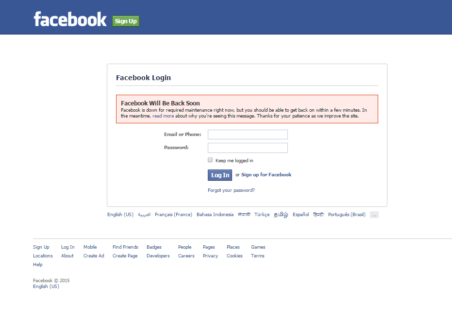 Facebook is Down for required Maintenance 2015 Screenshots photo 02-07-2015