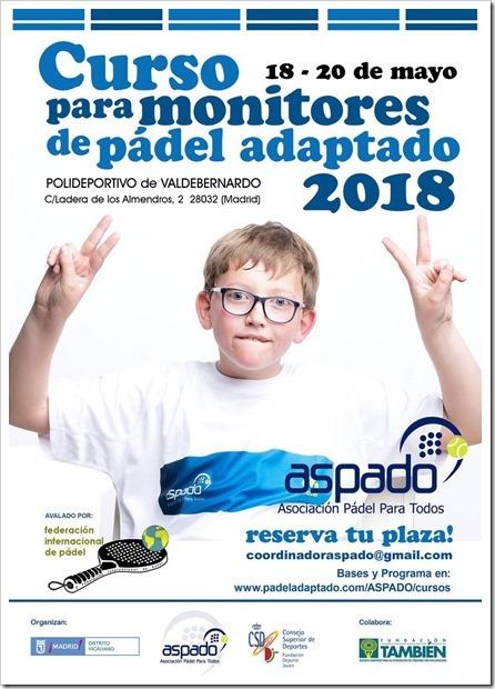 Curso para Monitores de Pádel Adaptado organizado por ASPADO. 18-20 Mayo 2018.