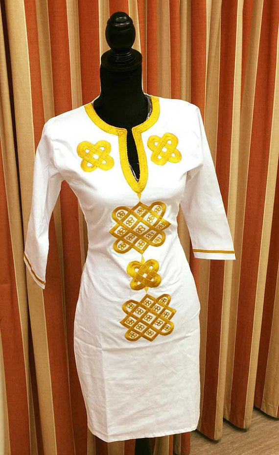 African embroidered dress clothing print