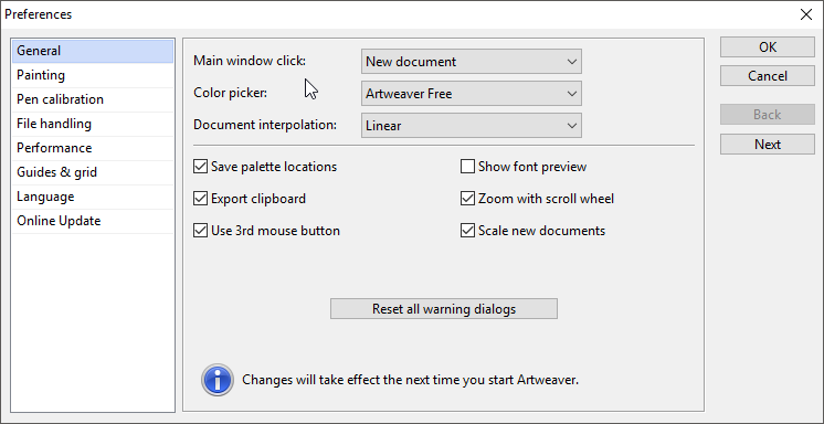 thumbapps.org Artweaver portable, Preferences