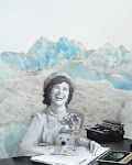 """DREAMSCAPE:  Phyllis reimagined at her writing desk, with Klumpy (who stars in her radio play), sitting  in her lap. Of the process, son Mark says, """"How we got to the Dreamscape didn't feel fabricated. It brings out a type of magic realism, blurring the difference between past and present so that you get all these fantastical things that aren"""