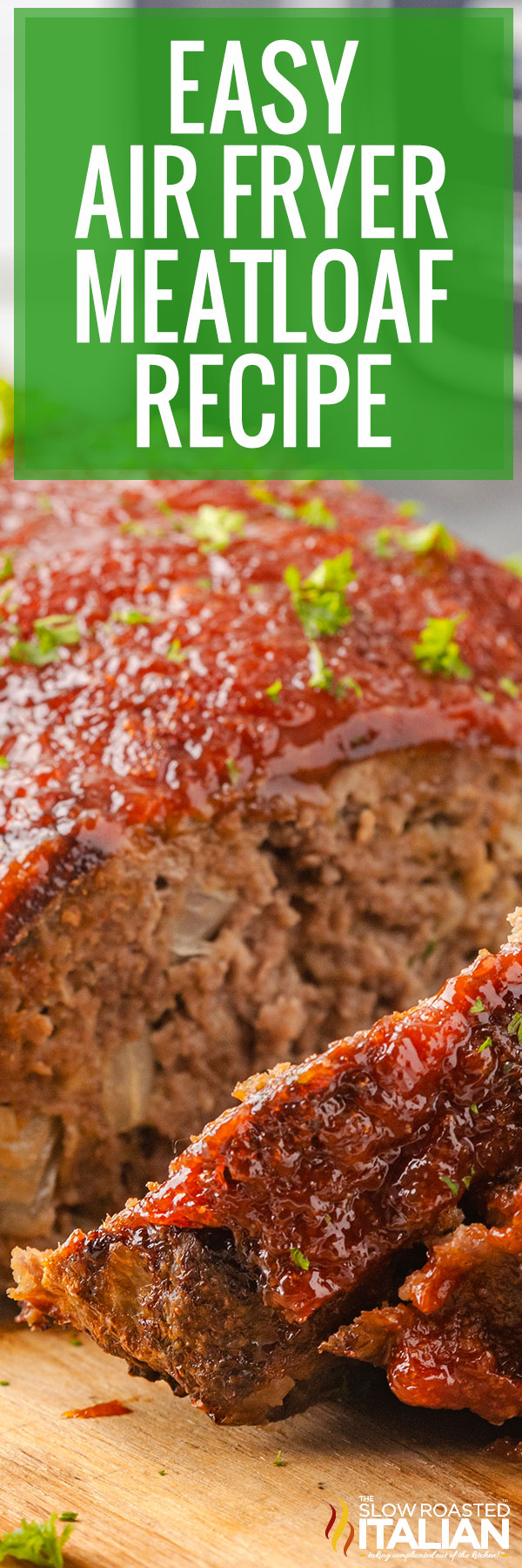 air fryer meatloaf closeup