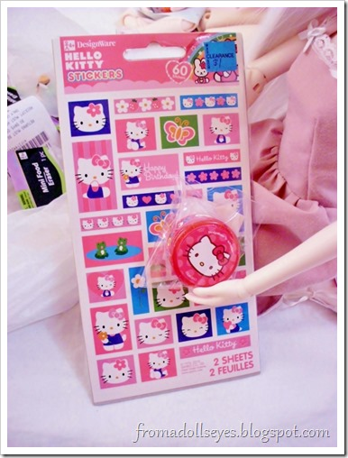 Finding Doll Props: At The Party Store? Hello Kitty stickers!