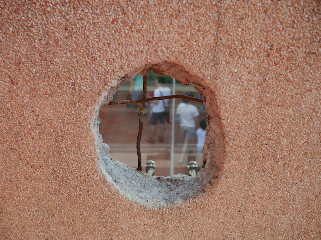 hole in a wall at the Hayashi Department Store in Tainan, Taiwan