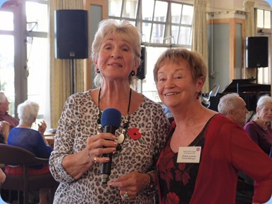 Diane Lyons, left, joined Margaret Black to sing along for a medley. Photo Courtesy of Dennis Lyons.