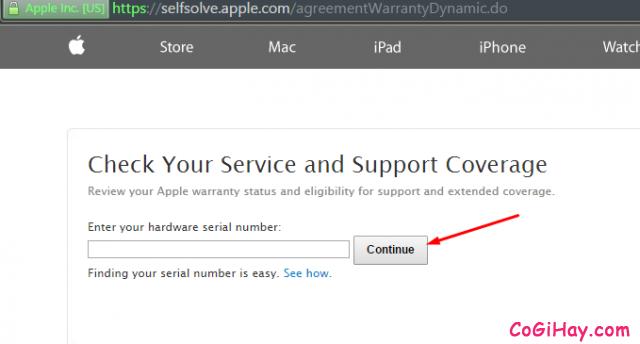 Kiểm tra iPhone qua trang web của Apple