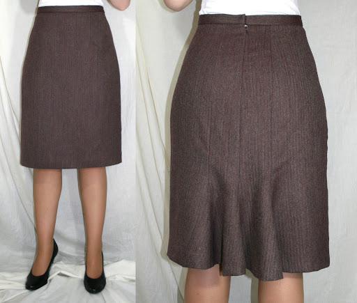 Kwik Sew 3494: Skirt w/back flounce (wool herringbone suiting)