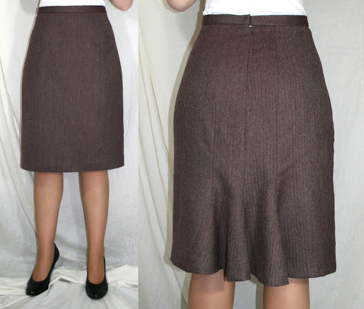 Kwik Sew 3494: Skirt w/back flounce (wool herringbone suiting)