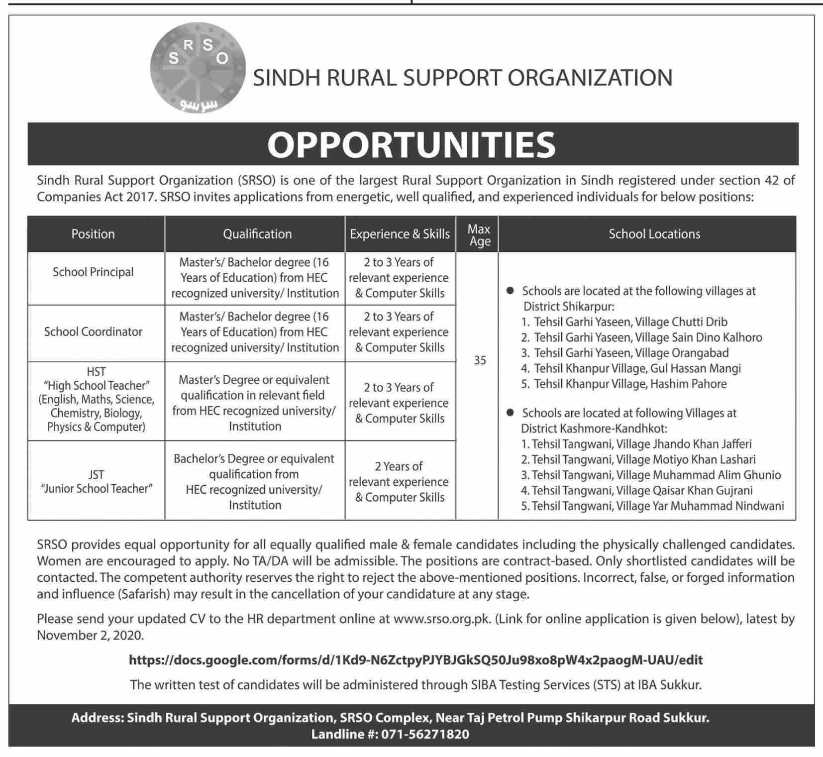 Sindh Rural Support Organization Jobs October 2020