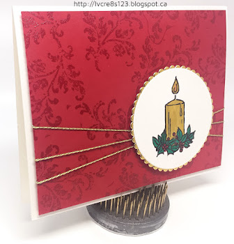 Linda Vich Creates: Stamp Class #2 Projects. Heat embossed background serves as a pretty backdrop for the Jar of Cheer candle embellishment in this cheery Christmas card.