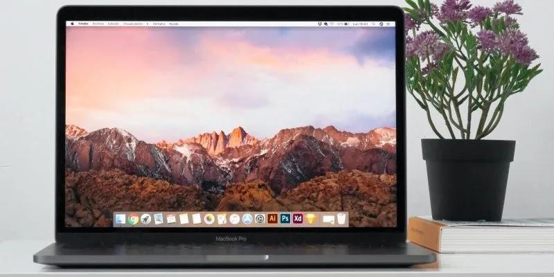 صورة لجهاز MacBook على مكتب بجوار زهرة