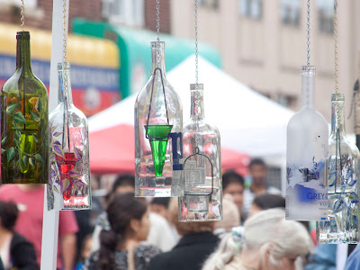 Glass bottle hangings.  Photos by TOM HART/  FREELANCE PHOTOGRAPHER.